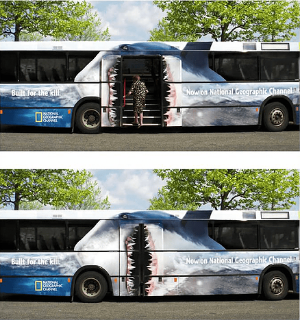 Guerilla marketing on public bus for National Geographic's Shark Week