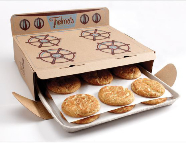 Thelma's cookies oven product packaging example.
