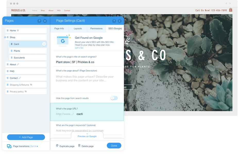 Wix business website SEO settings panel.