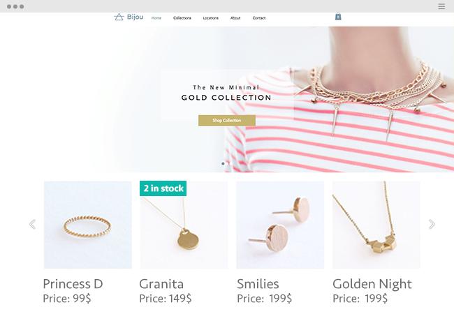 Gold jewelry eCommerce website.