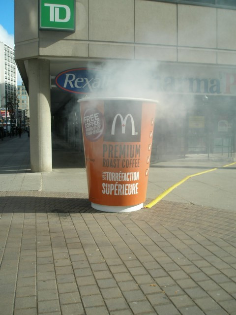 McDonald's guerilla marketing example with coffee cup