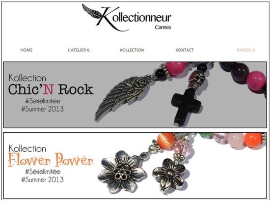 Kollectionneur jewelry eCommerce website.