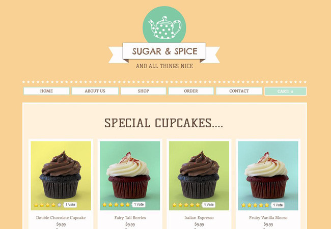 Cupcake store product page on a website.