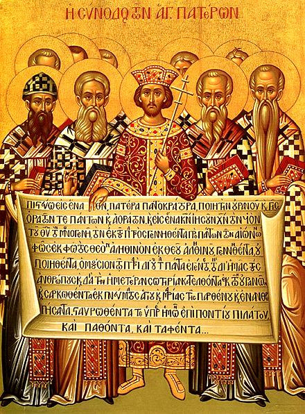 Old painting of saints of the Christian faith