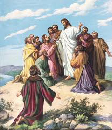 Jesus surounded by disciples