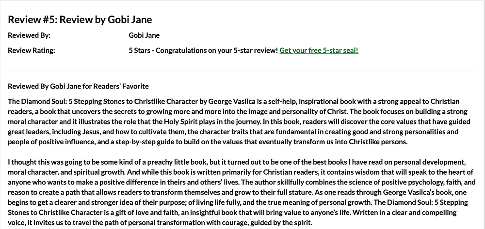 5-star review of The Diamond Soul book