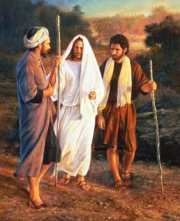 Jesus teaching two disciples