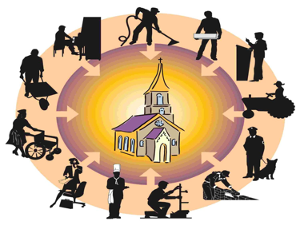 Image shows a church surounded by people working