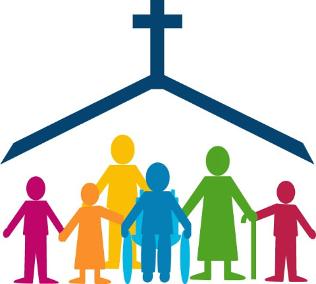 men, women and children under church's roof