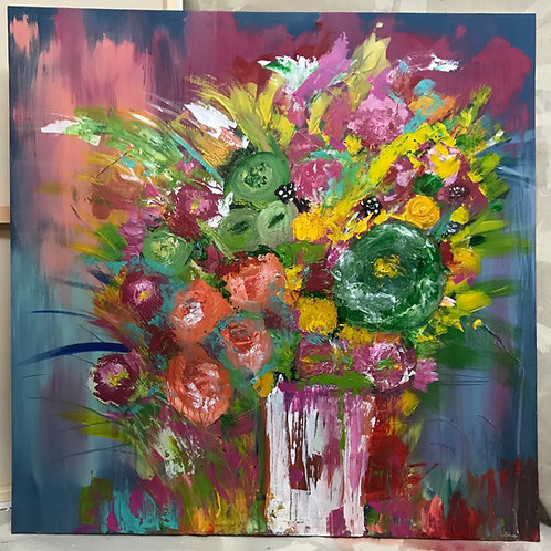 Spring Quarantine  39x39 Canvas (Mixed Medium)