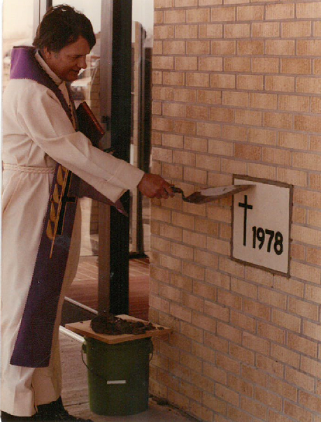Pastor Pool Placing the Cornerstone