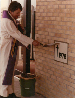 Pastor Pool Placing the Cornerstone