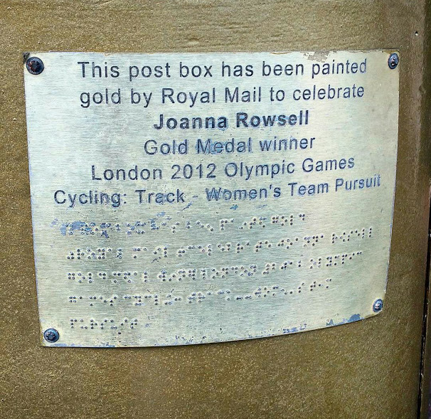 The plaque on the postbox