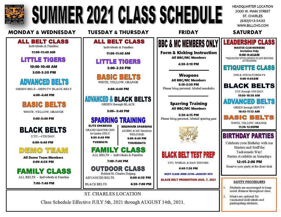Cho - 2021 SUMMER REVISED class schedule