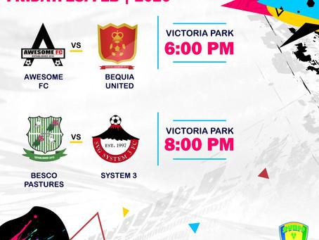 Football Action This Friday, Victoria Park. Fri. 28th Feb, 2020