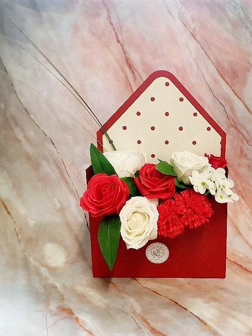 Soap Flower Envelope Gift Box - Ruby