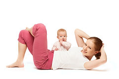 Mother And Baby Gymnastics Yoga Exercise