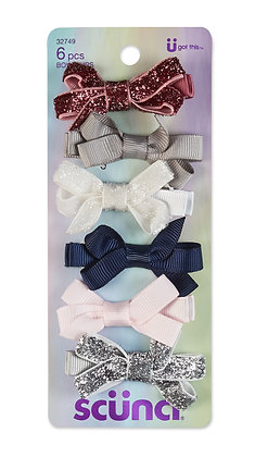 Toddler- 6Pk 5cm Assorted Ribbon Bow Hair Clips