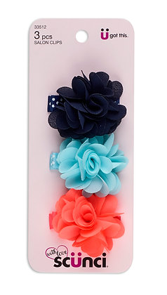 3 Pk Chiffon Flower Salon Clip