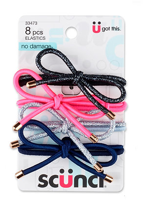 8-Pk Mixed Specialty Elastic with Bows. 4 with Bows and 4 Regular