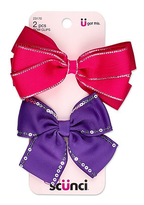 2-Pk Girl Bow Salon Clips