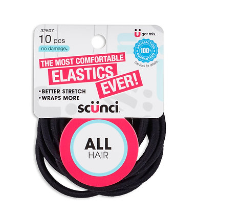 "10 Pk 4mm 6.5"" Nylon All Hair Elastic"