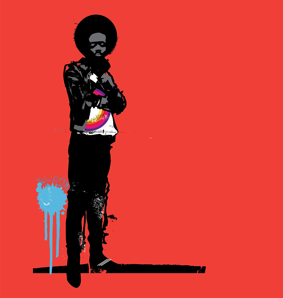 artist rendering of Black man with afro and bright red background