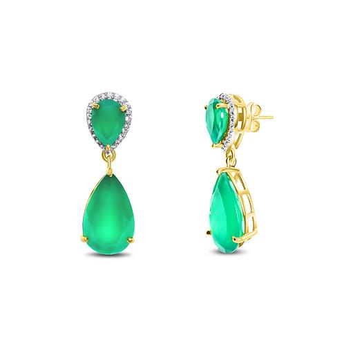 Pear Drop Earrings in Onyx, Purple & Green  Amethyst