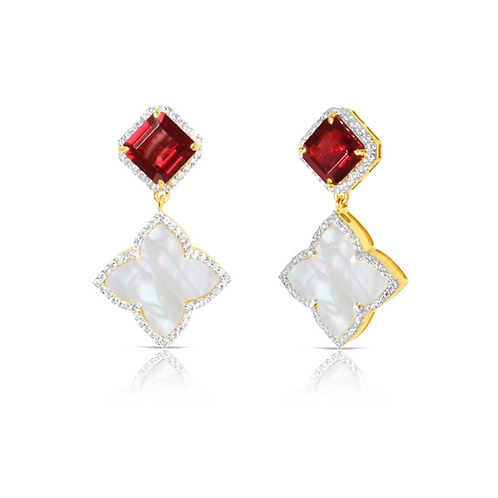 Taj Garnet Earrings Gold
