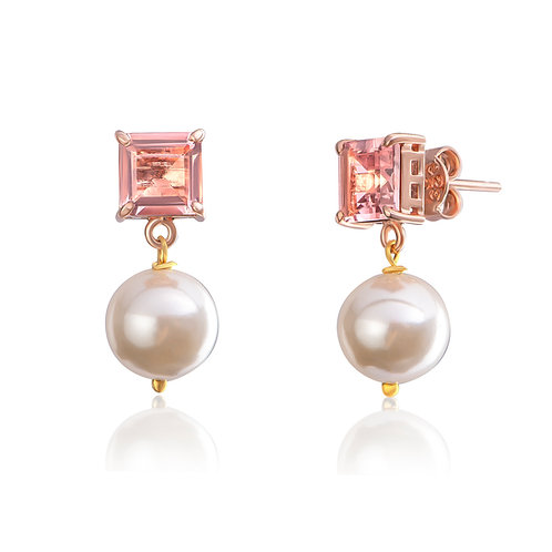 Pink Pearl Baby Earrings