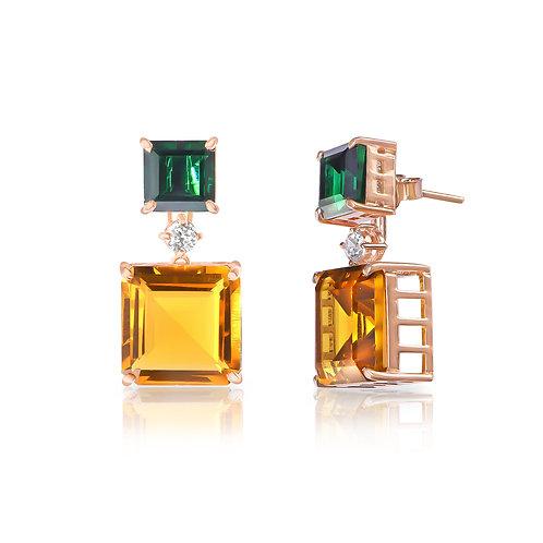 Emerald & Sapphire Detachable earrings