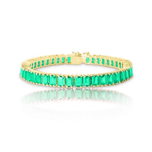 Emerald Green Bracelet in Rose Gold