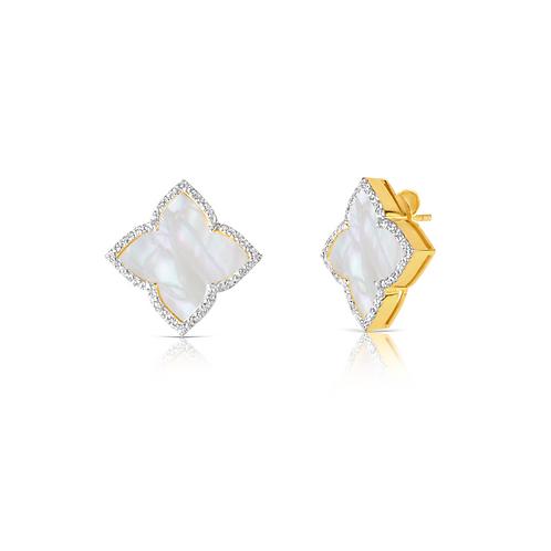 Taj Mother of Pearl Earrings Gold