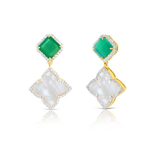Taj Green Onyx Earrings Gold