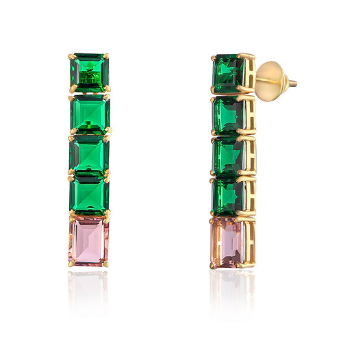 Grand Jungle Square Cut Green and Blush Pink Earrings