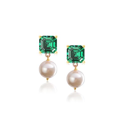 Emerald & Pearl Bridal Earrings in 9K Solid Gold