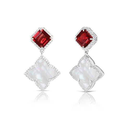 Taj Garnet Earrings Silver