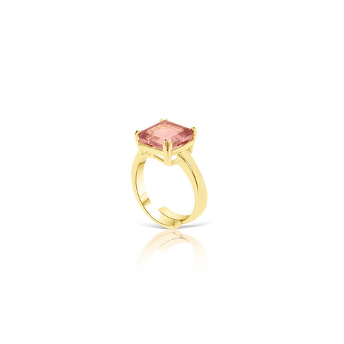 Calathea Square Cut  Engagement Ring Pink