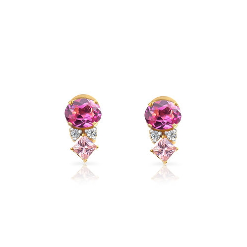 Sparkling Pink Oval & Square Earrings