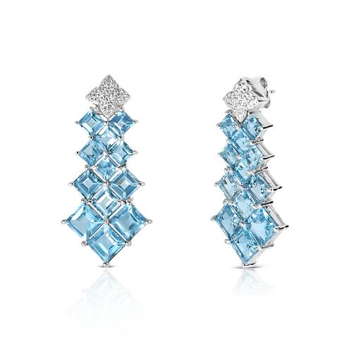 Panna Meena Blue Topaz Earrings