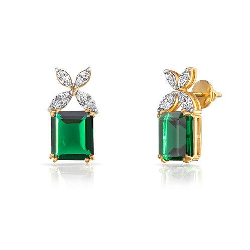 Lady Calathea Rich Emerald Cut & White Marquise Brilliant Cut Earrings