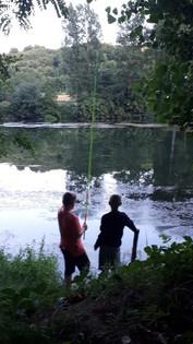 Lieverdjes aan het vissen