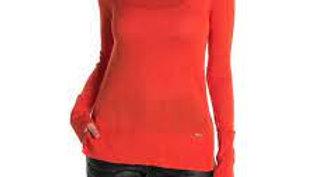 Tahari Orange Mock Neck Knit Sweater Size Medium