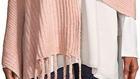 Free People Womens Jaden Pink Boho Ribbed Chunky Fringe Blanket Scarf