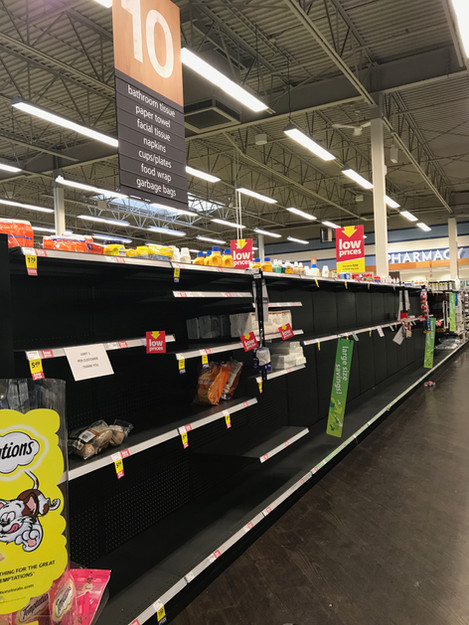 Saskatoon April 8, 2020  I took this photo because it was hard to believe that shelves once full of a seemingly endless supply of toilet paper, were bare. This hadn't happened before the pandemic. People put their panic into paper buying.