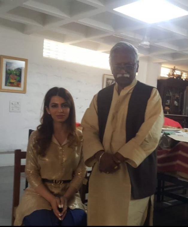 With Laxma Goud at his house in Hyderabad