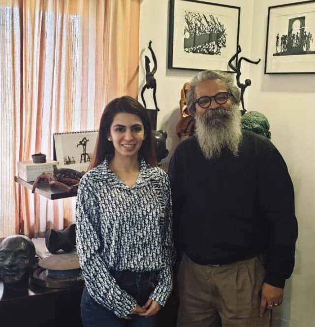 With K.S. Radhakrishnan at his studio in Delhi