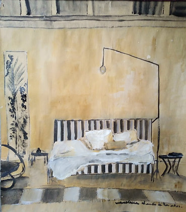 Yellow ochre and black stripped bedroom