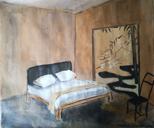 Japanese yellow ochre bedroom