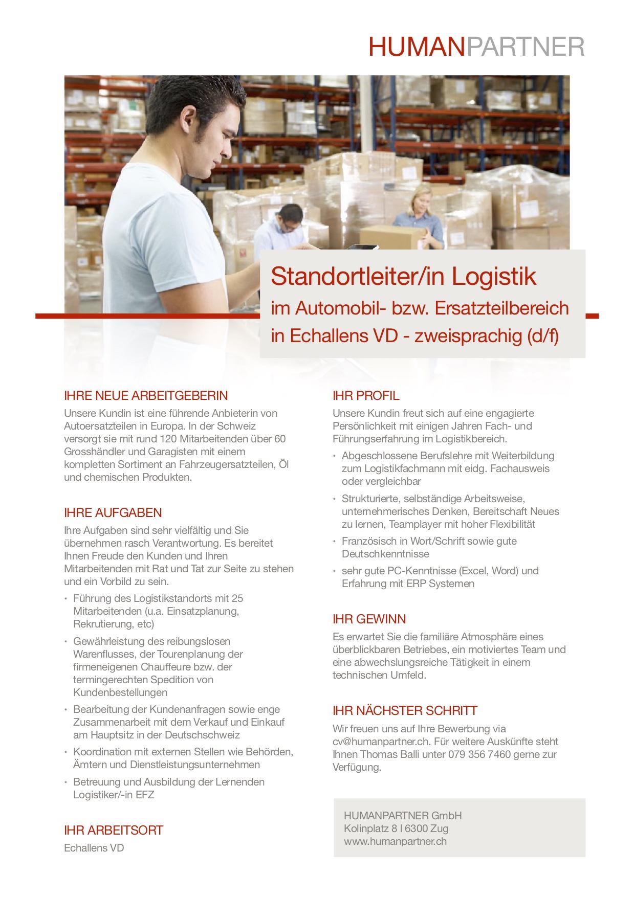 Leitung Logistik Echallens - 2019